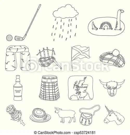 Country scotland outline icons in set collection for