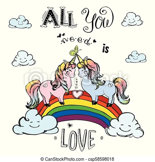 Download Couple of unicorns standing on rainbow with inscription ...
