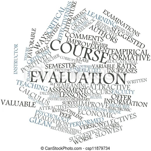 Abstract word cloud for course evaluation with related
