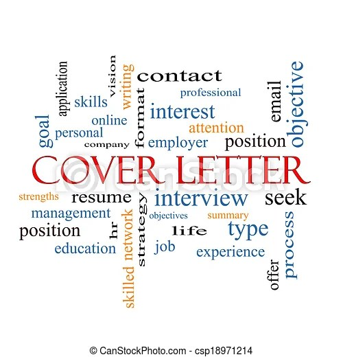 Cover letter word cloud concept with great terms such as interview resume summary and more