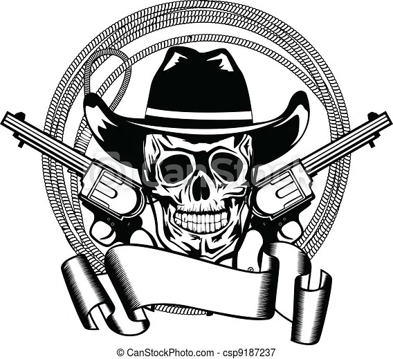Vector illustration cowboy and two pistols.