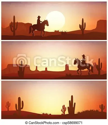 cowboy riding horse against