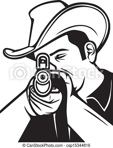 Cowboy shooting a rifle (cowboy pointing his rifle, cowboy