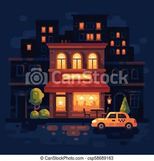 cozy night street two-story cafe