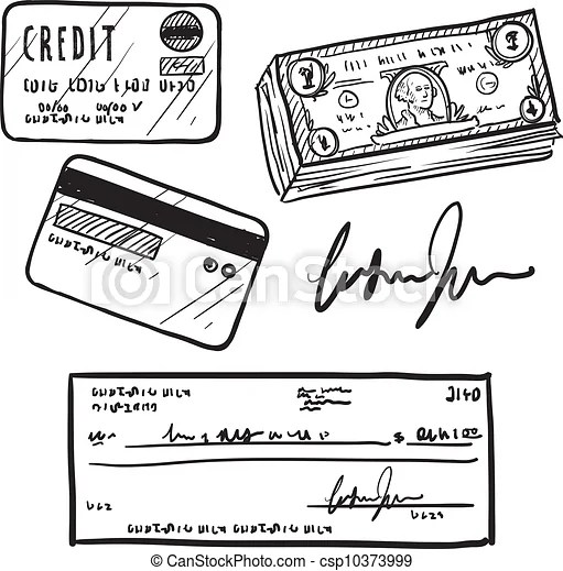 Credit and finance items sketch. Doodle style personal