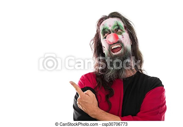 I'd like some advice on a halloween costume i'd like to make. Creepy Clown Pointing With His Finger To Copyspace Isolated On White Concept Costume Or Halloween Creepy Bloody Clown Canstock