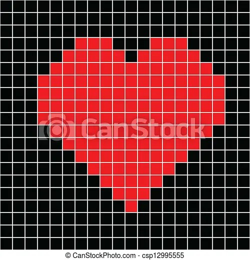 Cross stitch red heart. Cross-stitch red heart pattern on black background vector.