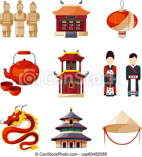culture icons set traditional