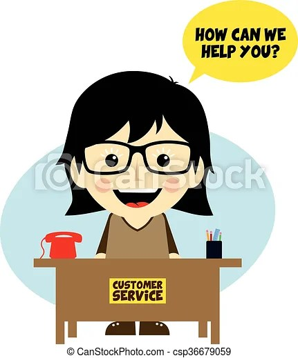 customer service desk cartoon character