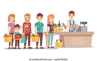 customers queue vector cash desk clipart supermarket cashier shopping market concept illustration clip line drawing