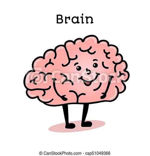 Cute and funny human brain character cartoon vector