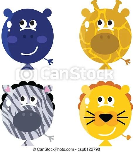 cute animal balloon faces set isola
