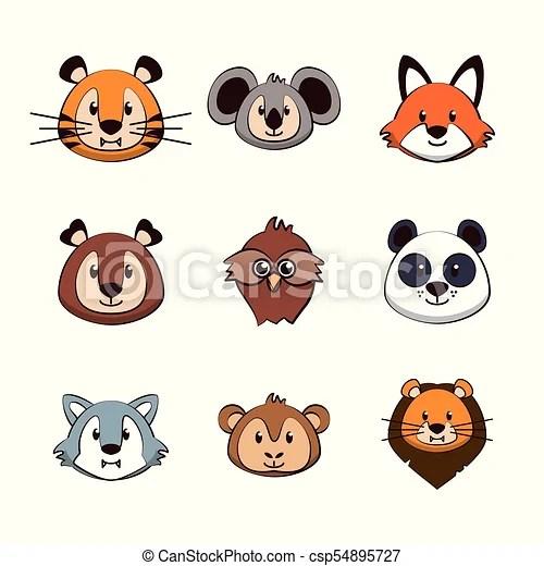 Cute Animals Cartoons Icons Icon Vector Illustration Graphic Design