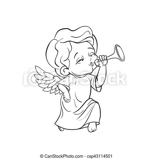 Cute baby angel making music playing trumpet. Cute smiling
