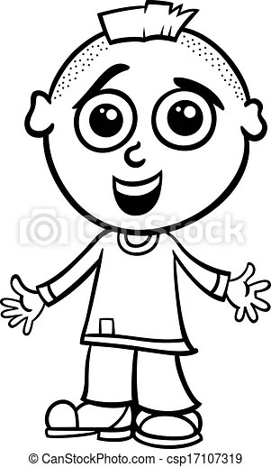 Cute boy cartoon coloring page. Black and white cartoon
