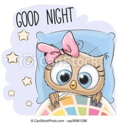 owl cartoon sleeping cute drawing bed clip vector drawings
