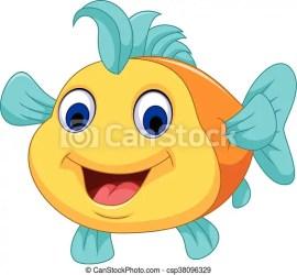 fish cartoon cute close illustration vector drawing