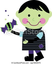 zombie halloween cute candy boy holding cartoon vector clip clipart isolated kid drawing