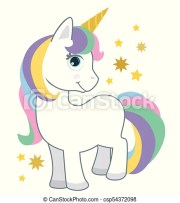 cute little baby unicorn with rainbow