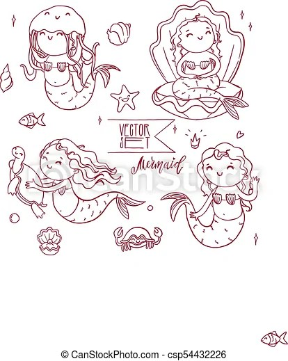 cute outline mermaids collection