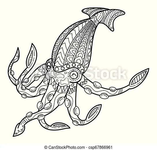 squid coloring pictures # 15
