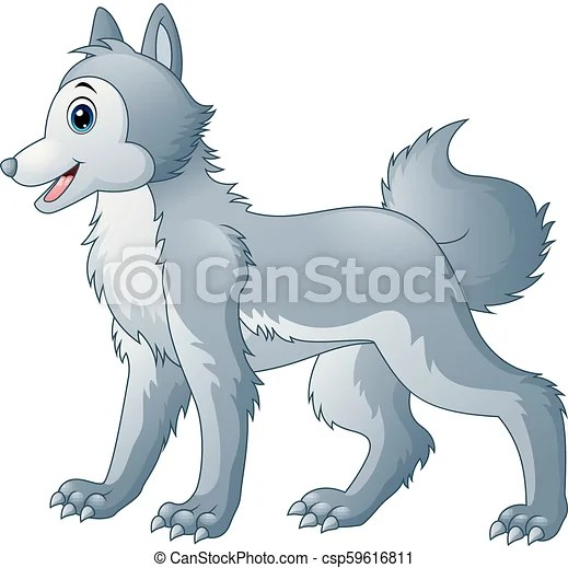 Vector Illustration Of Cute Wolf Cartoon
