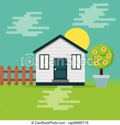 Cute wooden house garden fence potted tree fruit and sun day vector illustration CanStock