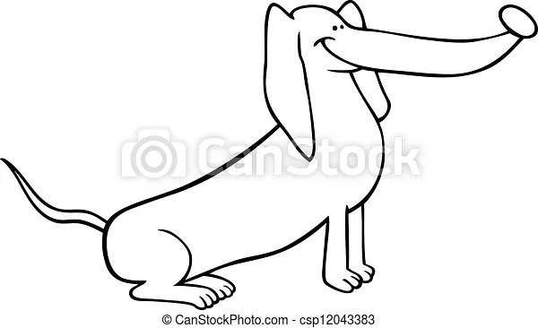 Dachshund dog cartoon for coloring. Black and white