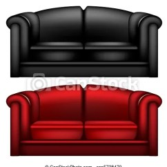 Black And Red Leather Sofa Big Sofas Ikea Dark On White Background Csp5728470