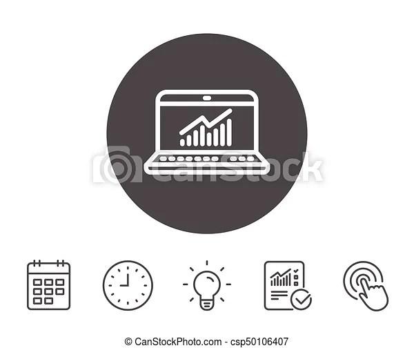 Data analysis and statistics line icon. computer. Data