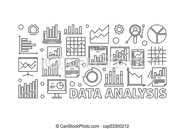 Data analysis line vector banner. Data analysis line