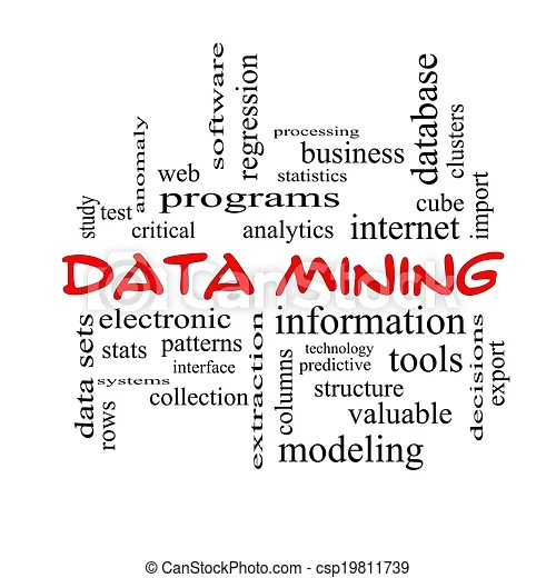 Data mining word cloud concept in red caps with great