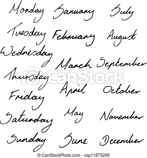 Days and months. Handwritten days of the week and months