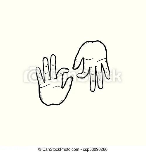 Deaf language hand drawn outline doodle icon