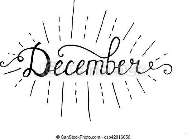 December. typographic design. black hand lettering text