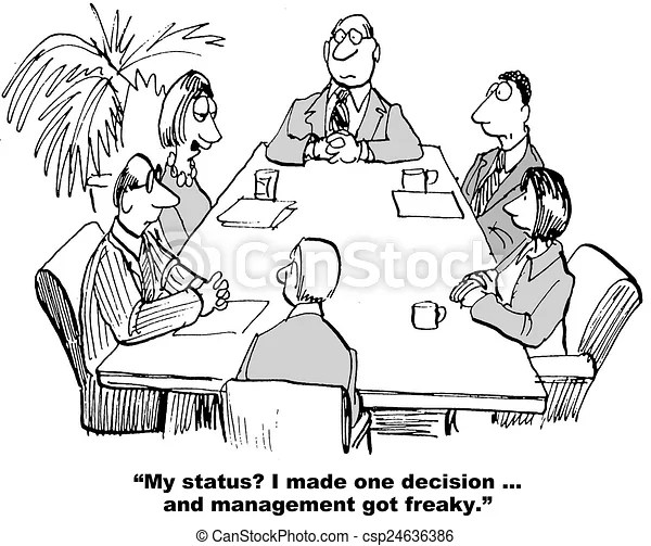 Decision maker. Cartoon of weekly team meeting and