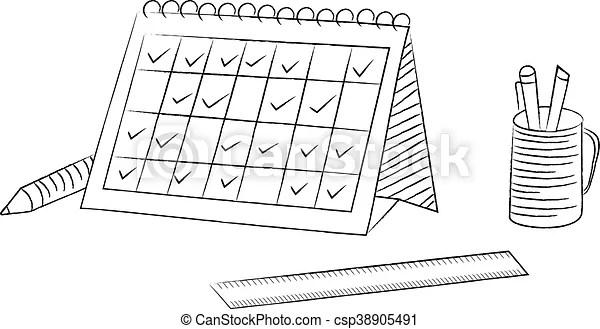 Desk calendar schedule sketch style illustration design.