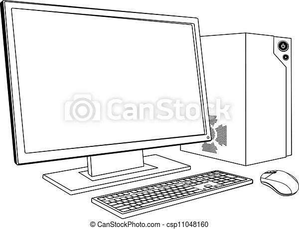 Desktop pc computer workstation. A black and white