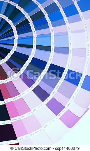 Detail of ral color chart. Open ral pantone sample colors catalogue.