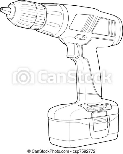 Detailed illustrations of a drill. Power tool drawing