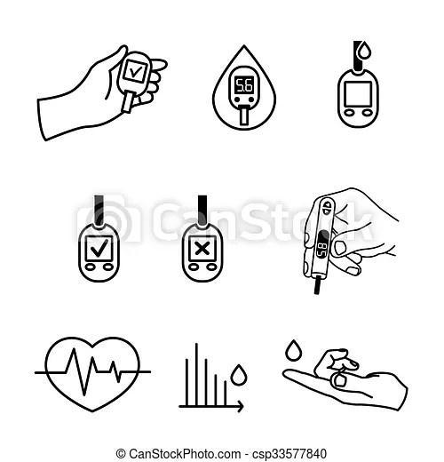 Diabetes icons vector. Beautiful vector diabetic set