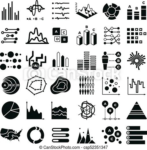Diagram and infographic vector icons. business data chart