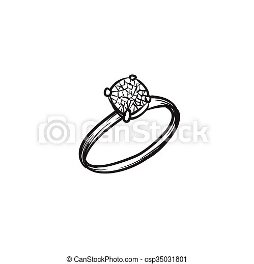 Diamond ring vector hand drawn illustration black lines