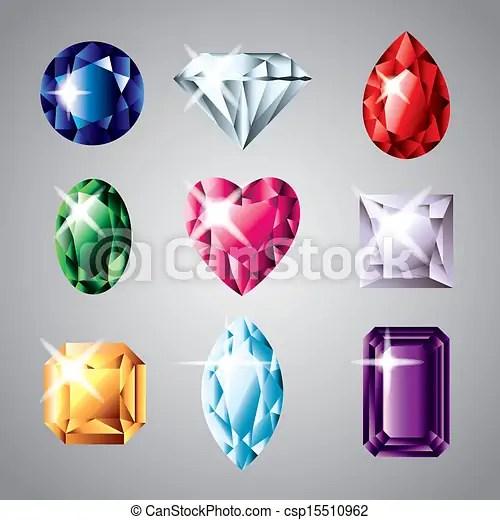 Diamonds And Gemstones Vector Set Precious Diamonds And