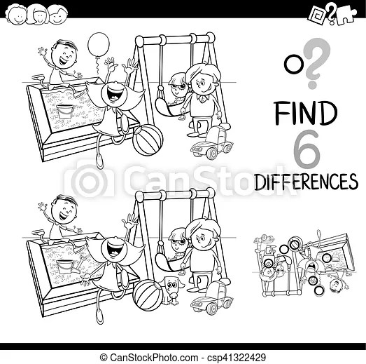 Difference game coloring page. Black and white cartoon