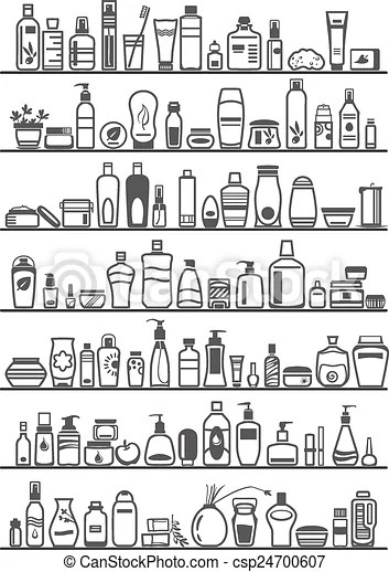 Different cosmetic products for personal care, vector