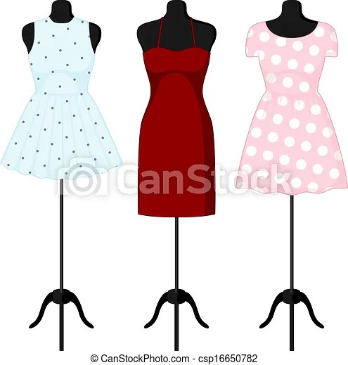 different dresses on a