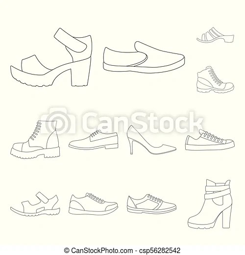 Different shoes outline icons in set collection for design