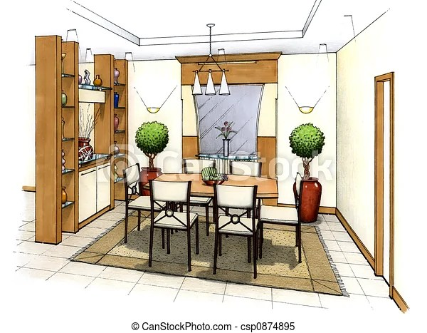 Dining room An artists simple sketch of an interior