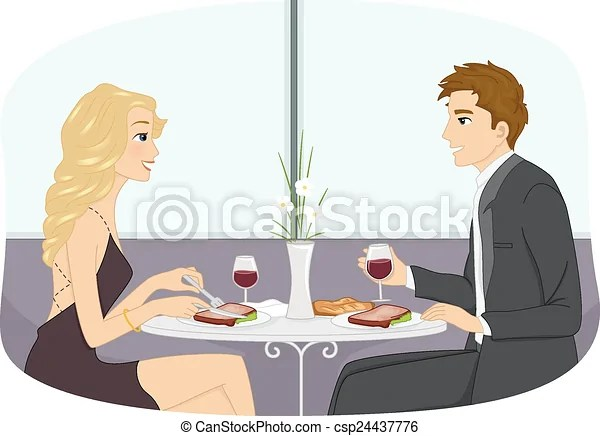 illustration of couple in formal